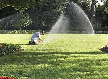 Монтаж спринклеров для автоматического полива на газоне